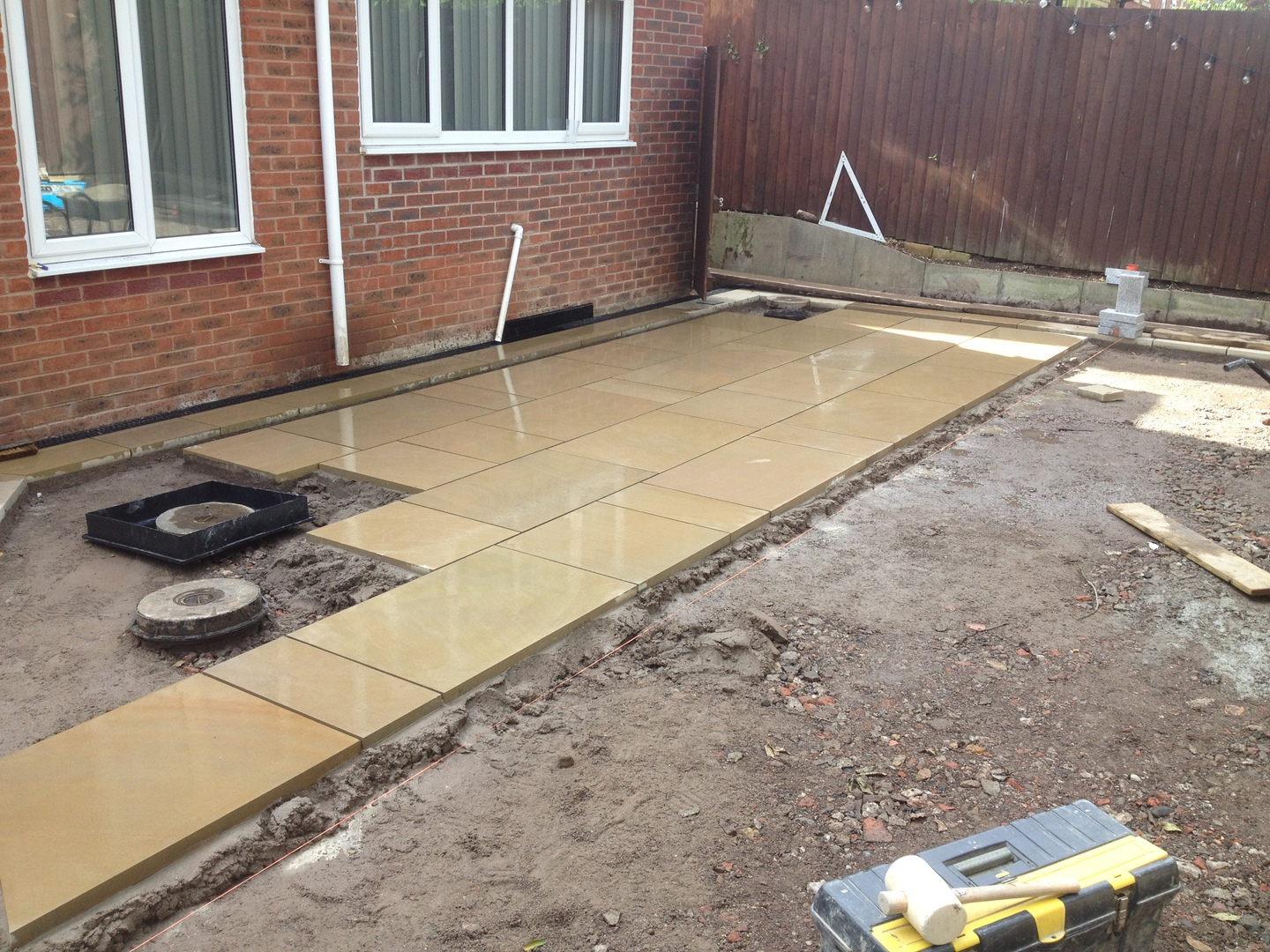 York stone patio during construction in Cheshire