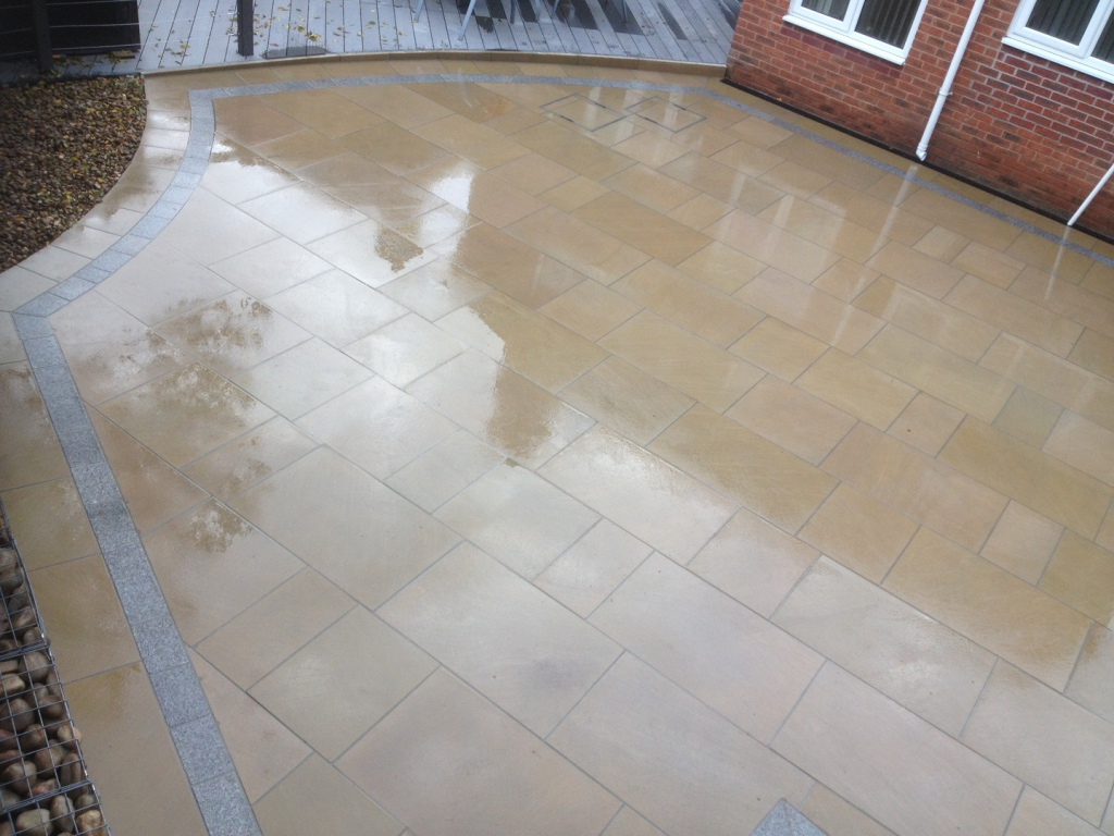 Sawn York stone patio paving