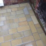 Mitre cuts to Yorkstone paving in Merseyside